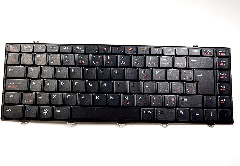 Dell New Genuine OEM Inspiron Studio 14z 15z 1470 1570 Laptop Notebook V100846AK Black 87 Key US French Canadian Canada Overlay Keypad Typing Keyboard Assembly F48VV Francais Clavier