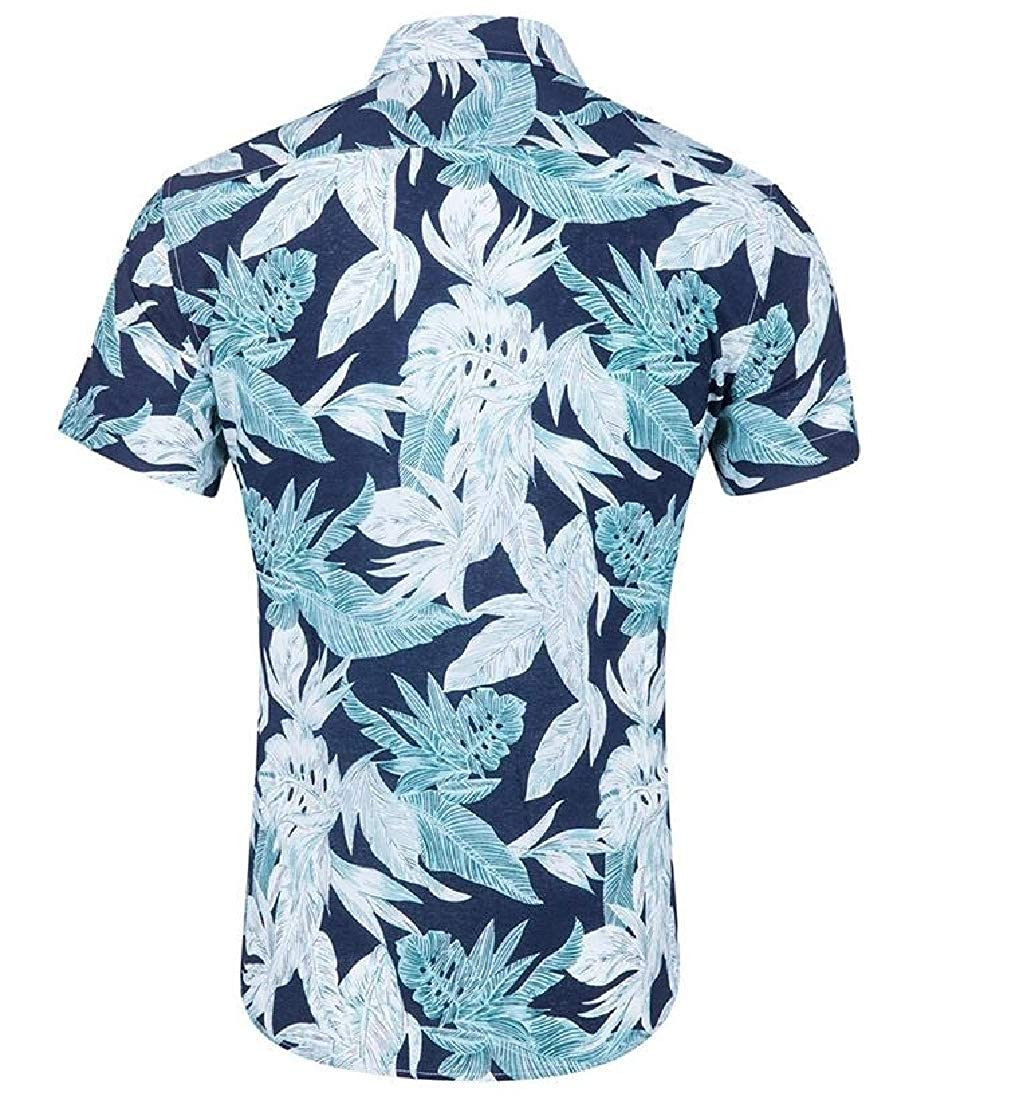 Joe Wenko Mens Tropical Short Sleeve Hawaii Summer Printed Button Down Shirts