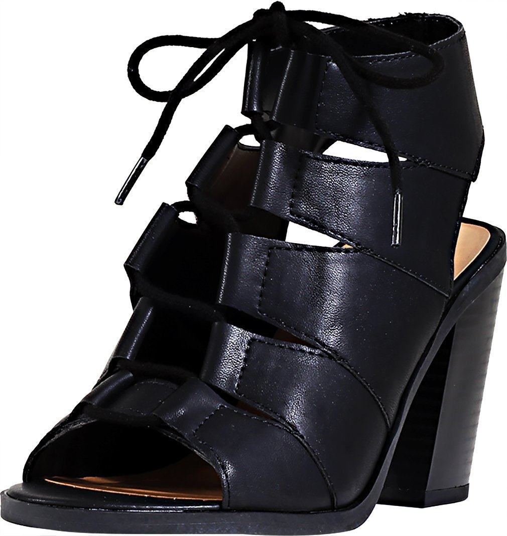 Soda Women's Quince Lace Up Chunky Heel Peep Toe Bootie (7.5 B(M) US, Black PU)