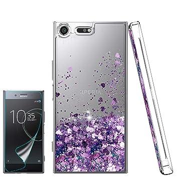 Atump Funda Sony Xperia XZ Premium Glitter Fundas Líquido Silicona TPU Antichoque Fundas de teléfono + Protector de Pantalla HD para teléfonos móviles ...