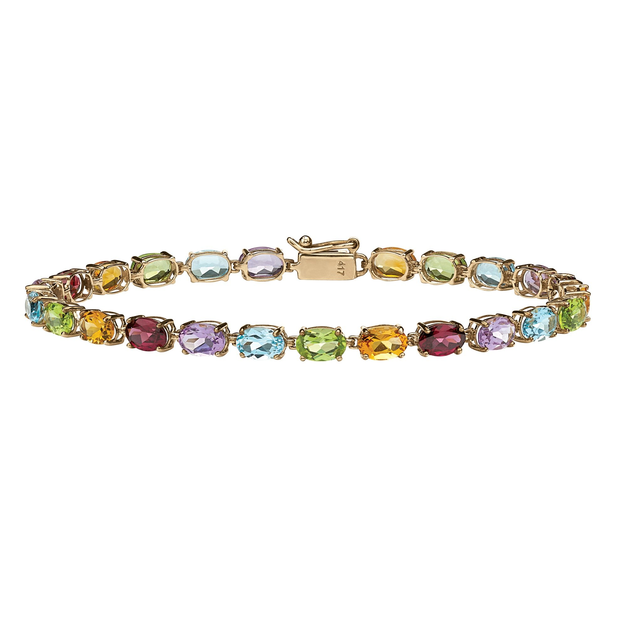 Oval-Cut Multi-Color Genuine Gemstone 10k Yellow Gold Tennis Bracelet 7.25'' by Lux