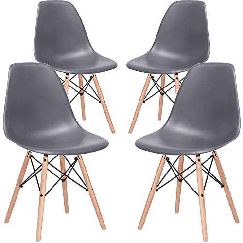 Nicemoods Armless Classic Eames Plastic Chair, Mid Century Modern Style Dining Chairs Indoor Wooden Legs Set of 4 for Kitchen, Dining Room, Bedroom, Living Room Side Chairs Grey