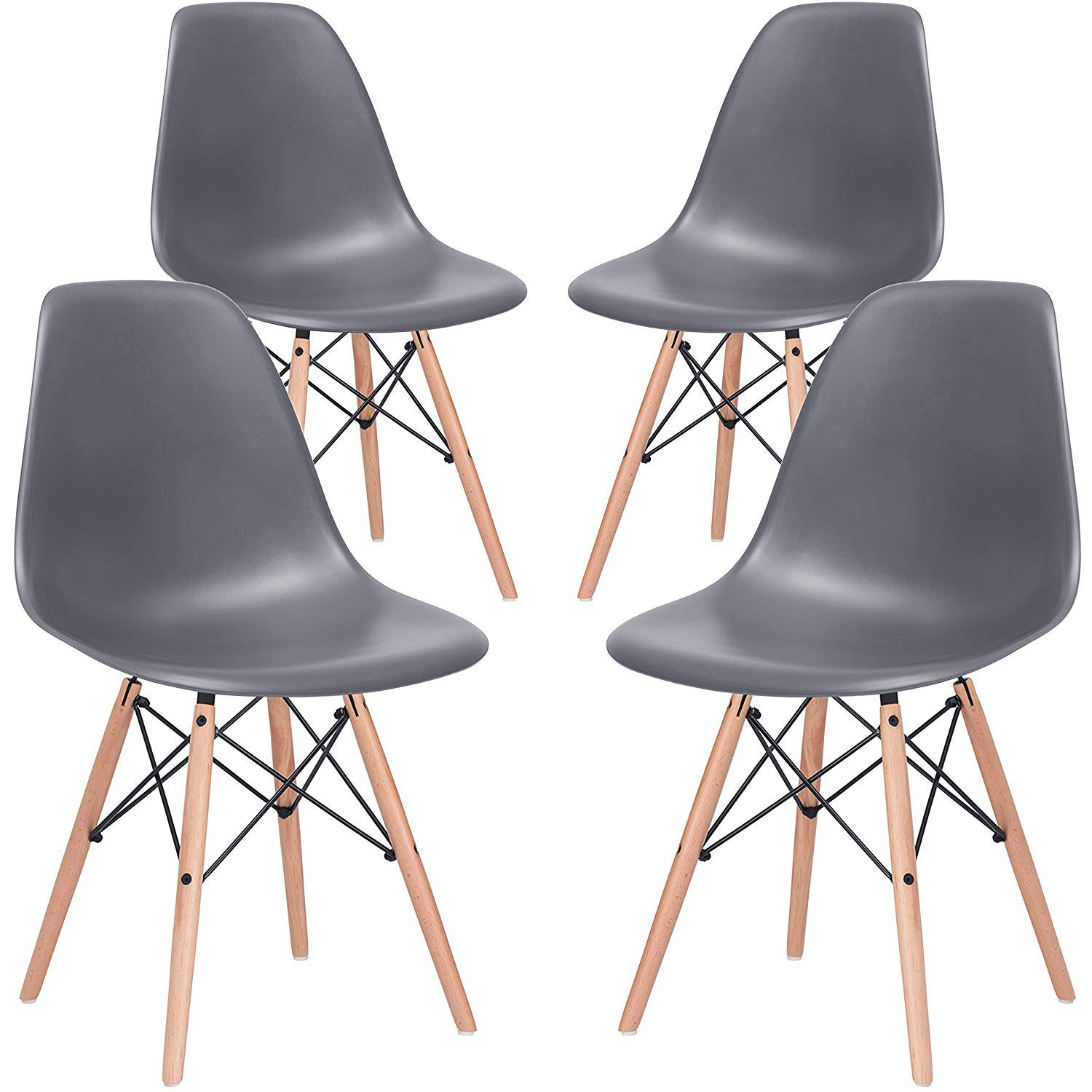Nicemoods Armless Classic Eames Plastic Chair, Mid Century Modern Style Dining Chairs Indoor Wooden Legs Set of 4 for Kitchen, Dining Room, Bedroom, Living Room Side Chairs (Grey)