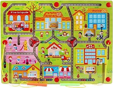 Gobus Bolas de Madera Laberinto Lápiz Perla de conducción Laberinto Laberinto Interactivo Juguetes para niños Educativo Juego de Mesa (Comunidad Feliz): Amazon.es: Juguetes y juegos