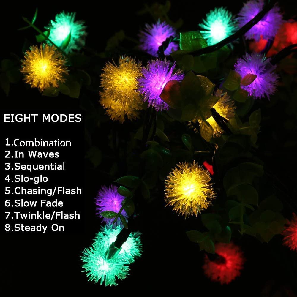 Snowball Ball String Lights FULLBELL Chuzzle String Lights Warm White Fairy Decorative Waterproof USB Powered Indoor String Light 60 LEDs 32ft 8 Flash Changing Modes Garden//Christmas//Party