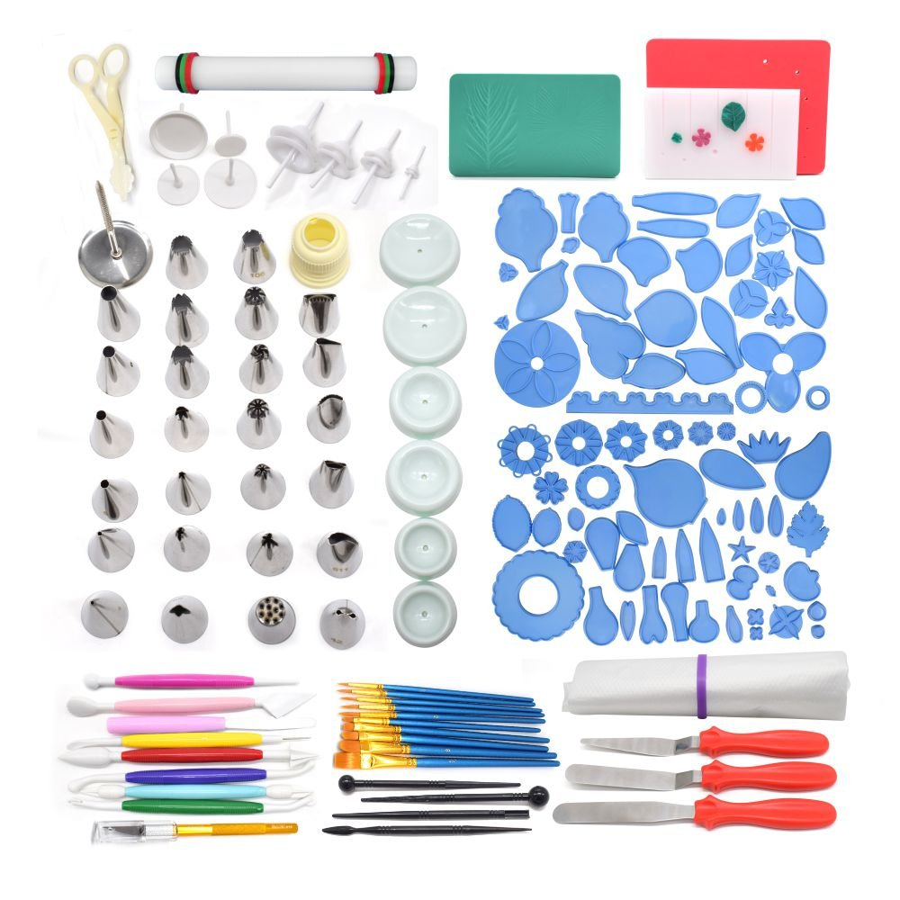 AK ART KITCHENWARE Gum Paste and Icing Leaf and Flower Tool Kit 75 Flower& Foliage Cutters 26 Icing Piping Tool 1 Veining Board 1 Foam Pad 1 Rolling Pin 10 Brushes 4 Frilling Sticks 8 Modelling Tool LF-18