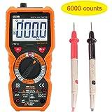 Multímetro digital con rango automático/manual, pantalla LCD, 6000 cuentas, retroiluminación, NCV, voltímetro, amperímetro, óhmetro (PM)