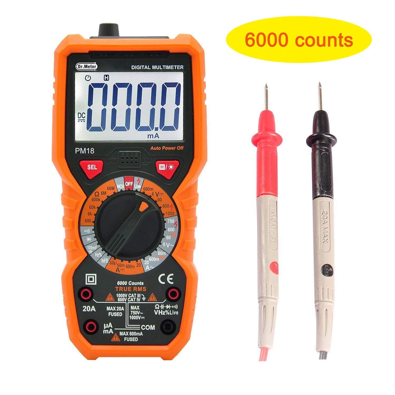 Multímetro digital con rango automático/manual, pantalla LCD, 6000 cuentas, retroiluminación, NCV, voltímetro, amperímetro, óhmetro (PM): Amazon.es: ...