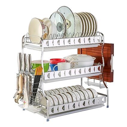 LAXF- Plato Grande de 3 Niveles Bandeja de Secado Bandeja de Cubiertos Bandeja de Cocina