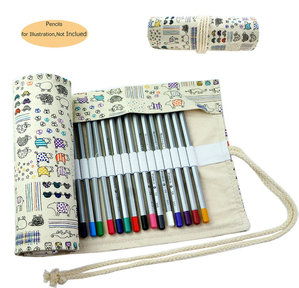 CREOOGO Colored Pencils Case Wrap Roll Holder for Artist Adult Coloring Travel Portable Canvas Storage Organizer with a Build-in Pouch Lovely Animals 48 loops