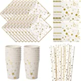 Vland Party Supplies by Star pattern – Disposable Paper Dinnerware Set for 16 Guests – Fancy Design for Party, Dinner and Celebration – 16 Plates, 16 Cups, 20 Napkins, and 20 Straws