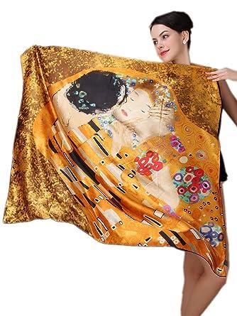le meilleur les dernières nouveautés Couleurs variées Prettystern XXL Crepe Seta (spessore 16 Mm) Panno di Seta Bordi Arrotolati  Mano Nouveau Gustav Klimt