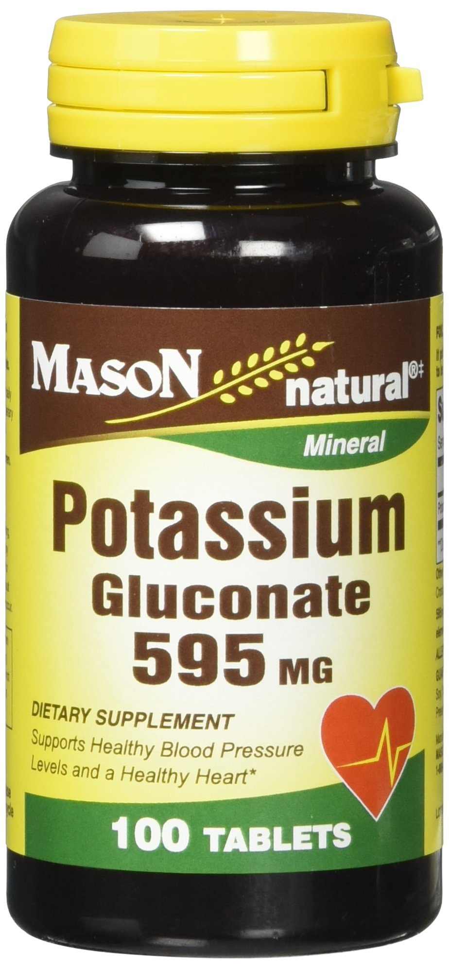 Mason Natural, Potassium Gluconate, 595 Mg Tablets, 100-Count Bottles (Pack of 3), Dietary Supplement Supports Healthy Blood Pressure, Overall Heart Health, Muscle Health, and Organ Health