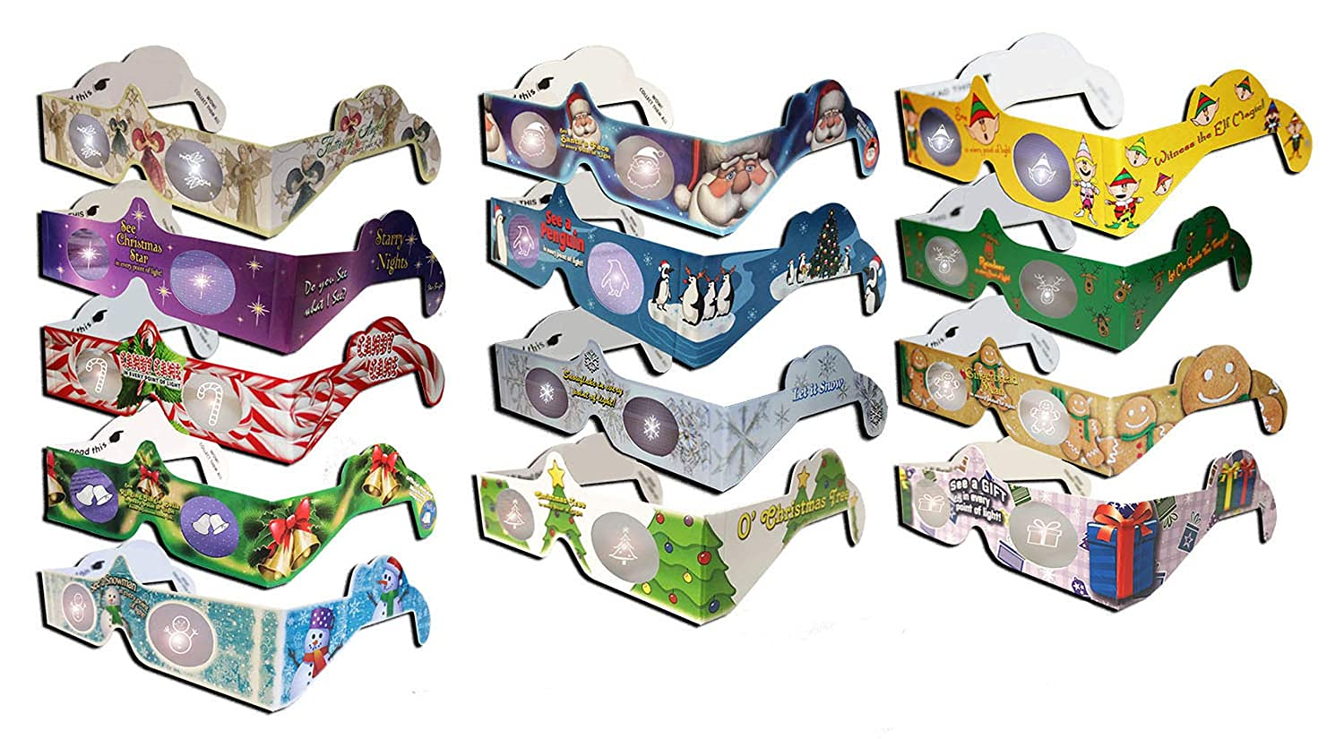 3Dstereo Holiday Eyes Ships Ships Folded /& Sleeved 12 pairs of Glasses 12 Different Styles Exclusive Jingle Bells -Turn XMAS Lights Into Magical Images