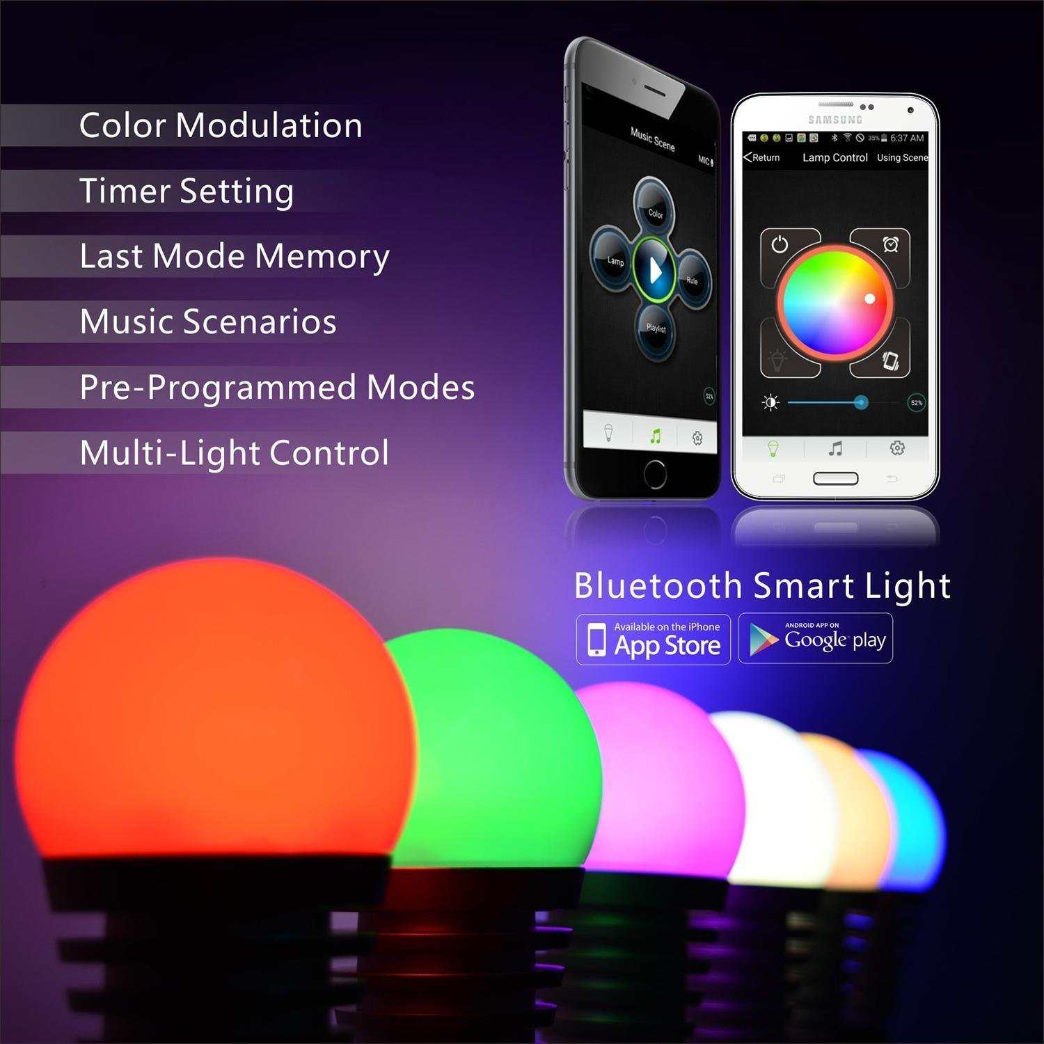 jiawen lamp wireless lighting dimmable pp light smart bulb app wifi remote led rgb control