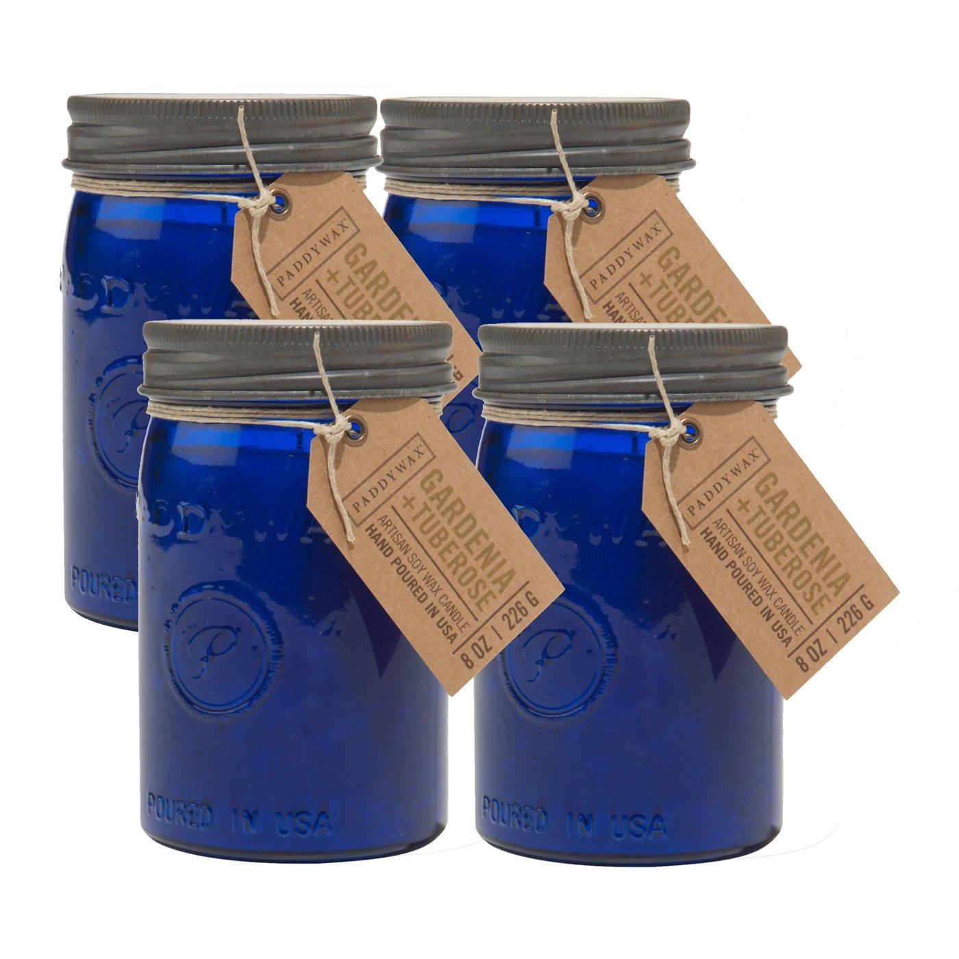 Paddywax Candles Relish Jar Collection Candle, 9.5-Ounce, Cobalt Gardenia & Tuberose - Set of 4