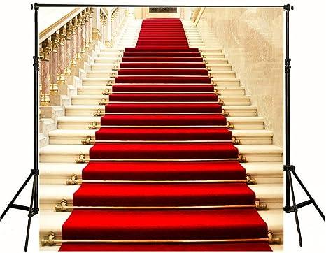 Alfombra roja fondo dorado escalera fondo para estudio de fotografía 5 x 7ft boda personalizados foto fondos estudio no arrugas: Amazon.es: Electrónica
