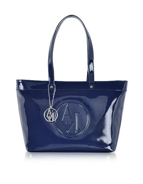 Armani Jeans Borsa Shopping Donna 922505Cc85000335 Vernice Blu  Amazon.it   Abbigliamento b44d9993181