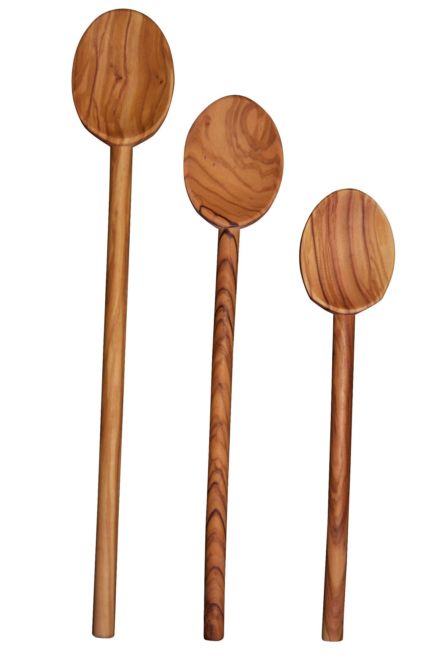 Scanwood Olive Wood Spoon (3 Cooking Spoon Set 10'' 12'' 14'')