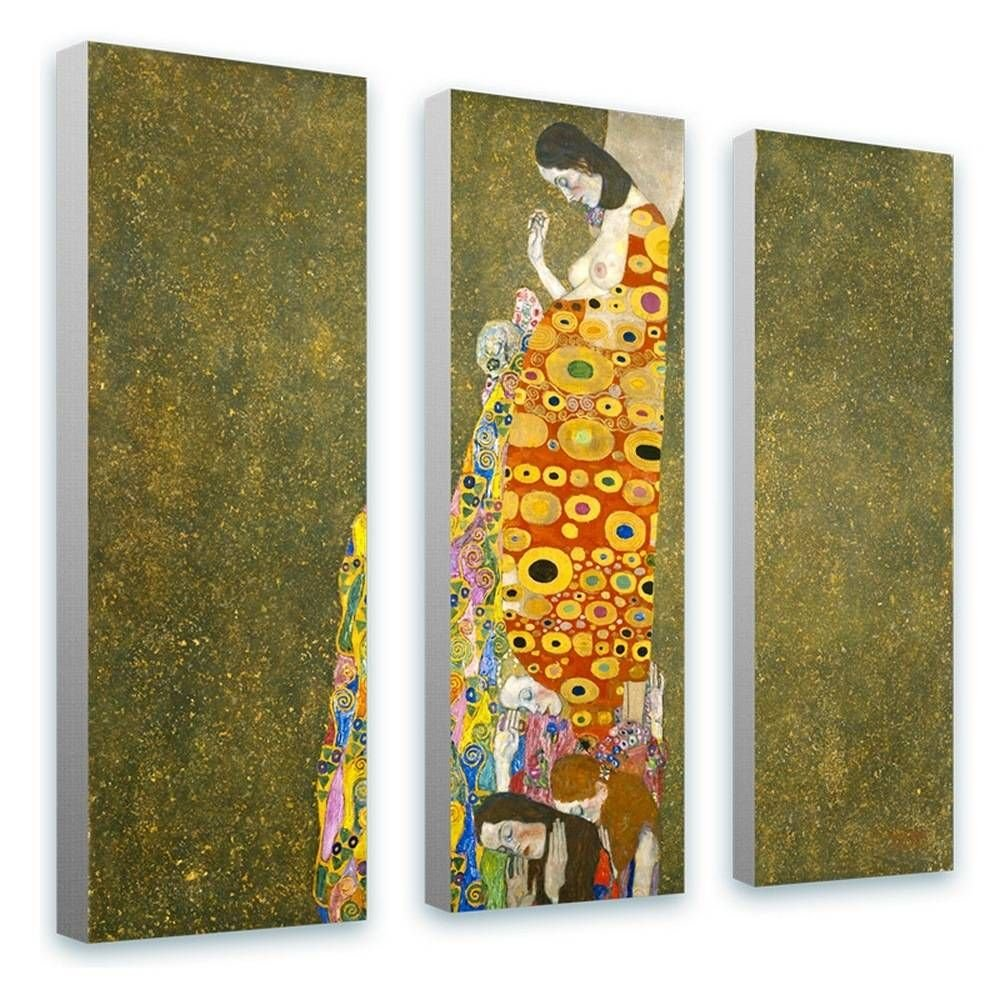 Alonline Art - Hope by Gustav Klimt | framed stretched canvas on a ready to hang frame - 100% cotton - gallery wrapped | 20''x20'' - 51x51cm | 3 Panels split | Wall art home decor for home HD picture by Alonline Art