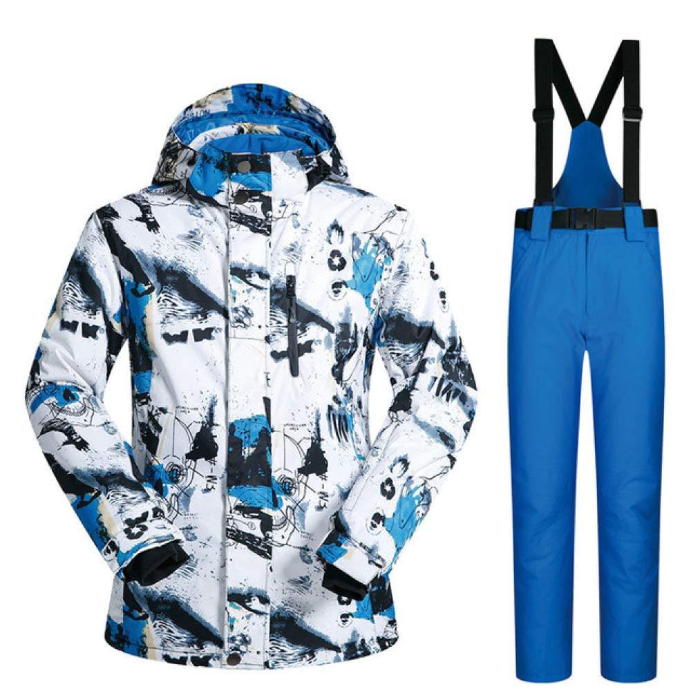 HIUGHJ Tuta da Sci da Uomo Giacca da Sci Termica Invernale Antivento Impermeabile e Pantaloni Abbigliamento Abiti da Sci e Snowboard Marche