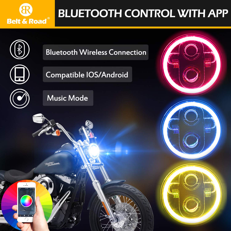Belt&Road 5 3/4 Inch RGB Halo LED Headlight for Harley Davidson Iron on