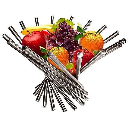 Frutero - Creativo Frutero plegable de acero inoxidable - Moderno antioxidante giratoria Cesta de frutas como decoración para la cocina y mesa de ...