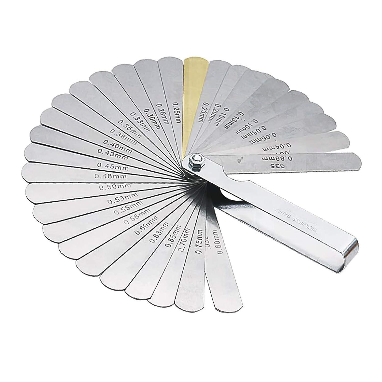 Jauge d/épaisseur en acier 32 lames Outil de mesure pour mesurer la largeur ou l/épaisseur