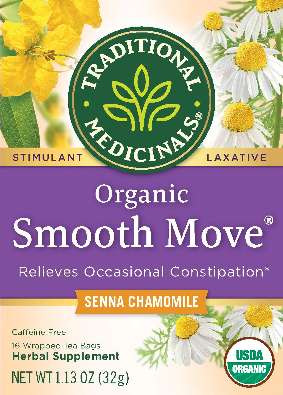 Pack of 2 Organic Smooth Move Tea Chamomile by Traditional Medicinals Senna Chamomile 16 bags
