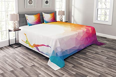 Ambesonne Sports Bedspread Gymnastics Girl Gymnast Portrait Colored Geometric Digital Shapes Modern Olympics Decorative Quilted 3 Piece Coverlet Set With 2 Pillow Shams Queen Size White Ruby Home Kitchen