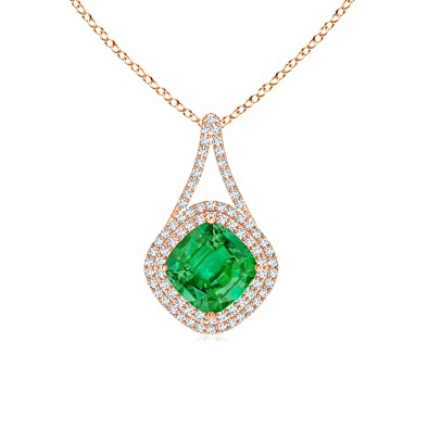 Angara Inverted Pear GIA Certified Emerald Necklace with Diamonds hKjay7