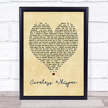 Amazoncom Careless Whisper Vintage Heart Song Lyric Wall Art