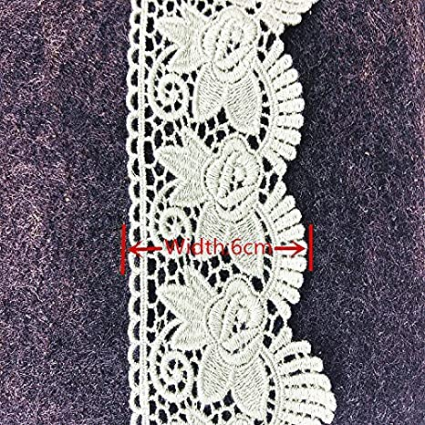 Red 6CM Width Europe Rose pattern Inelastic Embroidery Trims,Curtain Tablecloth Slipcover Bridal DIY Clothing//Accessories.(4 yards in one package