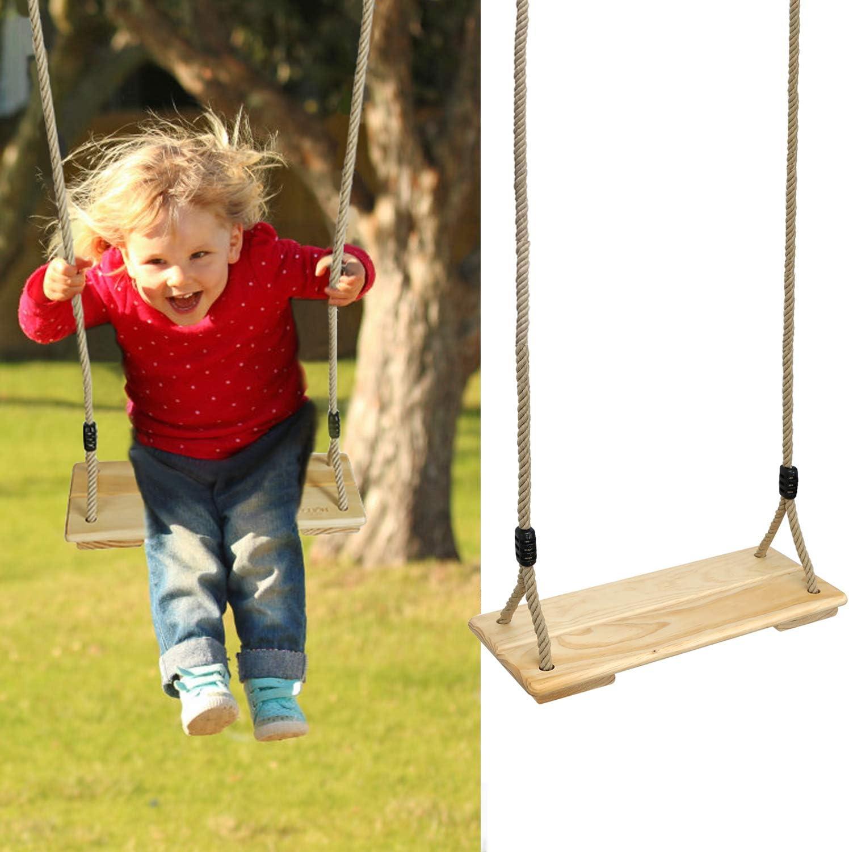 PELLOR Columpio Infantil, Columpio de Madera para Exterior e Interior Asiento de Madera Pino con Cuerda Regulables para Niños y Adultos,Ideal para Patio Jardin