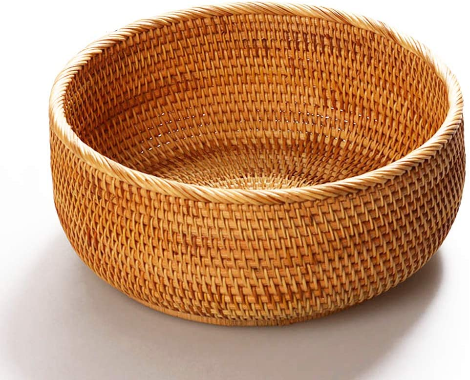 Amololo Hadewoven Round Rattan Fruit Basket Wicker Food Tray Weaving Storage Holder Dinning Room Bowl Large 9 8 Home Kitchen
