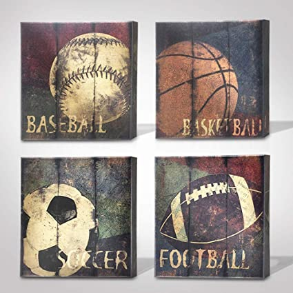 Green Frog Basketball Soccer Football Sports Themed Canvas Wall Art For  Boys Room Baby Nursery Wall