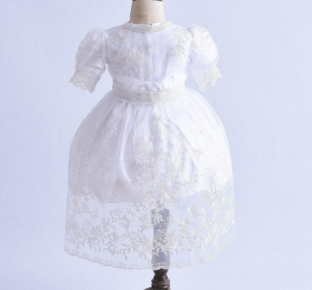 Cinda Baby-M/ädchen 3 St/ück wei/ßes Spitze-Taufkleid-Partei-Kleid