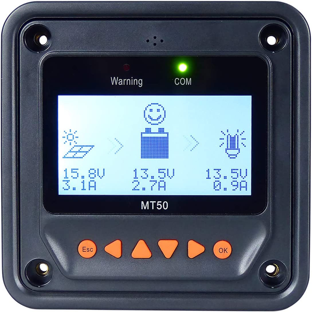 EPEVER MT50 Remote Meter Work wih MPPT EPEVER Solar Charge Controller Tracer A An BN Series 10A-100A ,Monitor and Set Data of Solar Charge Controller Not Fit for RENOGY, HQST Brand MT50