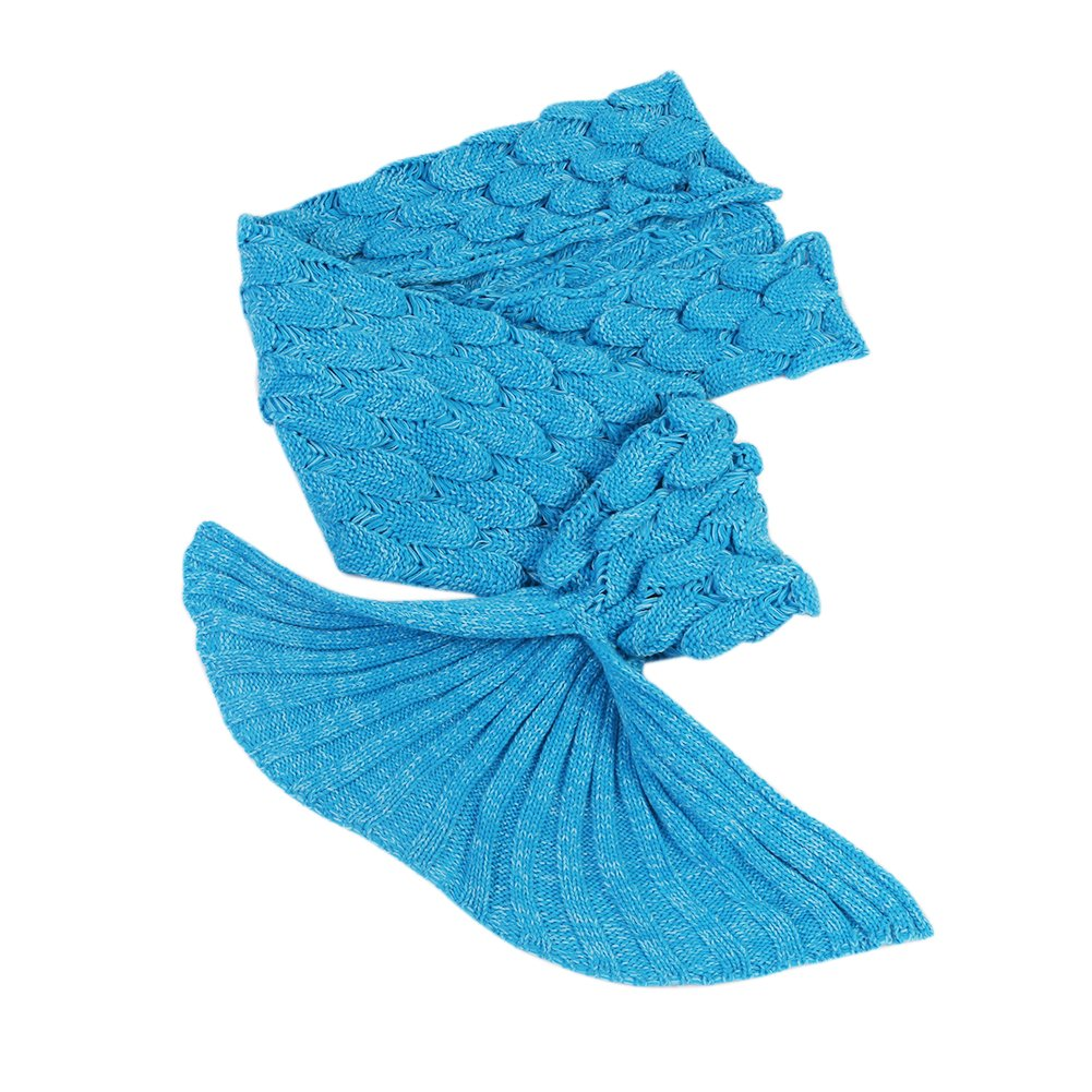 Airdom Mermaid Tail Blanket for Kids Toys Little Crochet Mermaid Blankets Best Birthday for Girls All Seasons Sleeping Throws 55.18 inch x 27.56 inch(A-Scaly-Kids-Blue) by Airdom (Image #5)