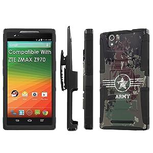 ZTE [ZMAX] Armor Case [SlickCandy] [Black] Heavy Duty Defender [Holster] [Kick Stand] - [Camo Army] for ZTE [ZMAX Z970]
