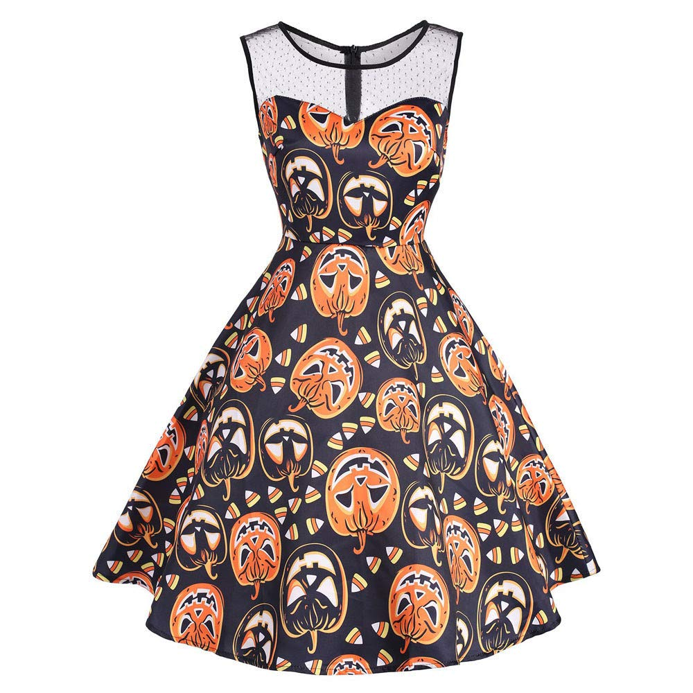 Clearance Sale! baskuwish Women's Vintage O-Neck Print Sleeveless Halloween Party Swing Dress