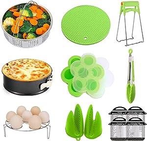 Deacroy Instant Pressure Cooker Pot Accessories Set with Steamer Baskets,Springform Pan,Egg Steamer Rack,Egg Mold,Oven Mitts,Trivet Mat,Cheat Sheet, for Instant Pot 6,8 Quart, Green