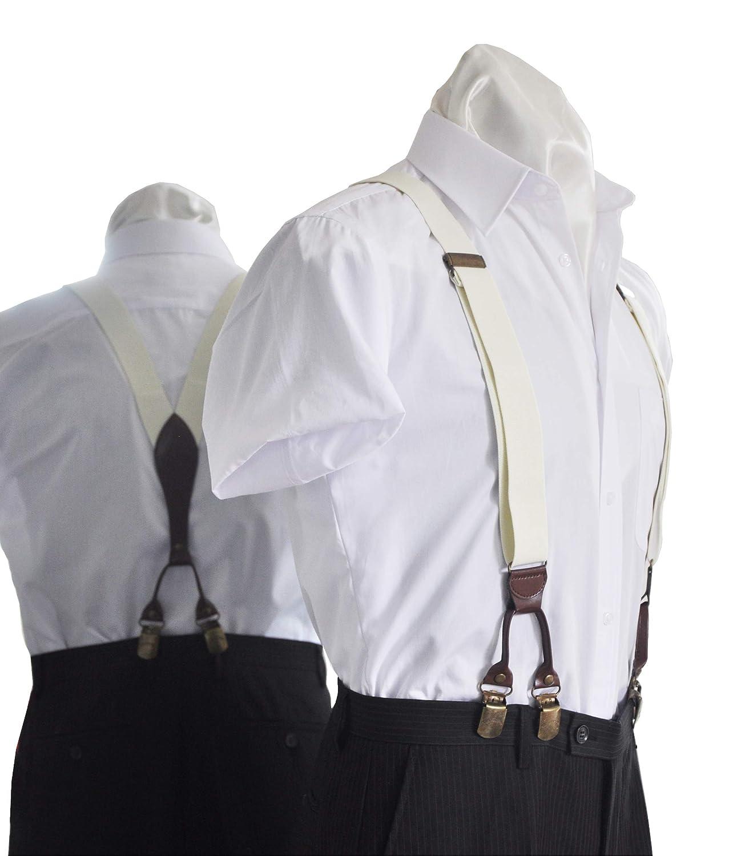 BESTRAPS - Bretelles homme vintage - solides - Élégantes - 3,5 cm - Clips larges - Longueur ajustable