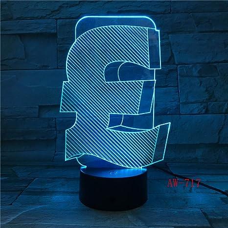 GBP Pound 3D LED Luz de la Noche RGB Cambia Reino Unido Lámpara de ...