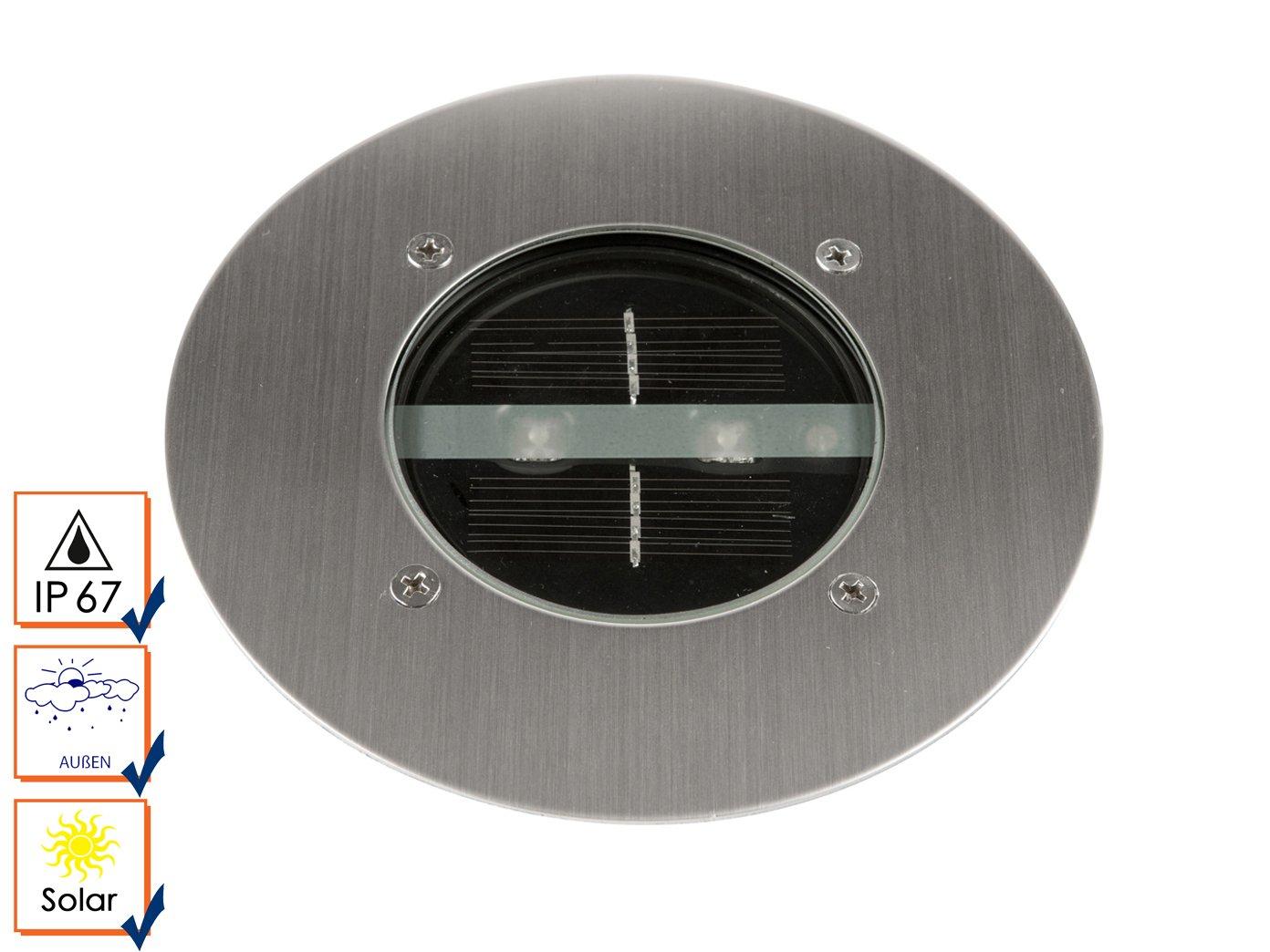 4P-juego de solar LED empotrable en el suelo foco de Lugo, redonda, acero inoxidable, tapa de cristal, IP44; 5000.197: Amazon.es: Iluminación