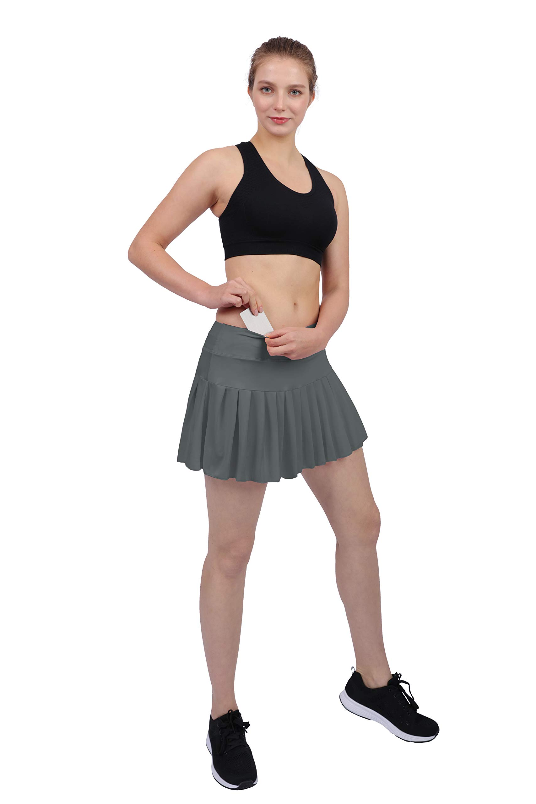 Womens Tennis Pleated Skorts Golf Workout High Waist Biult in Skirts Sports Active Wear with Pockets Grey by HonourSex