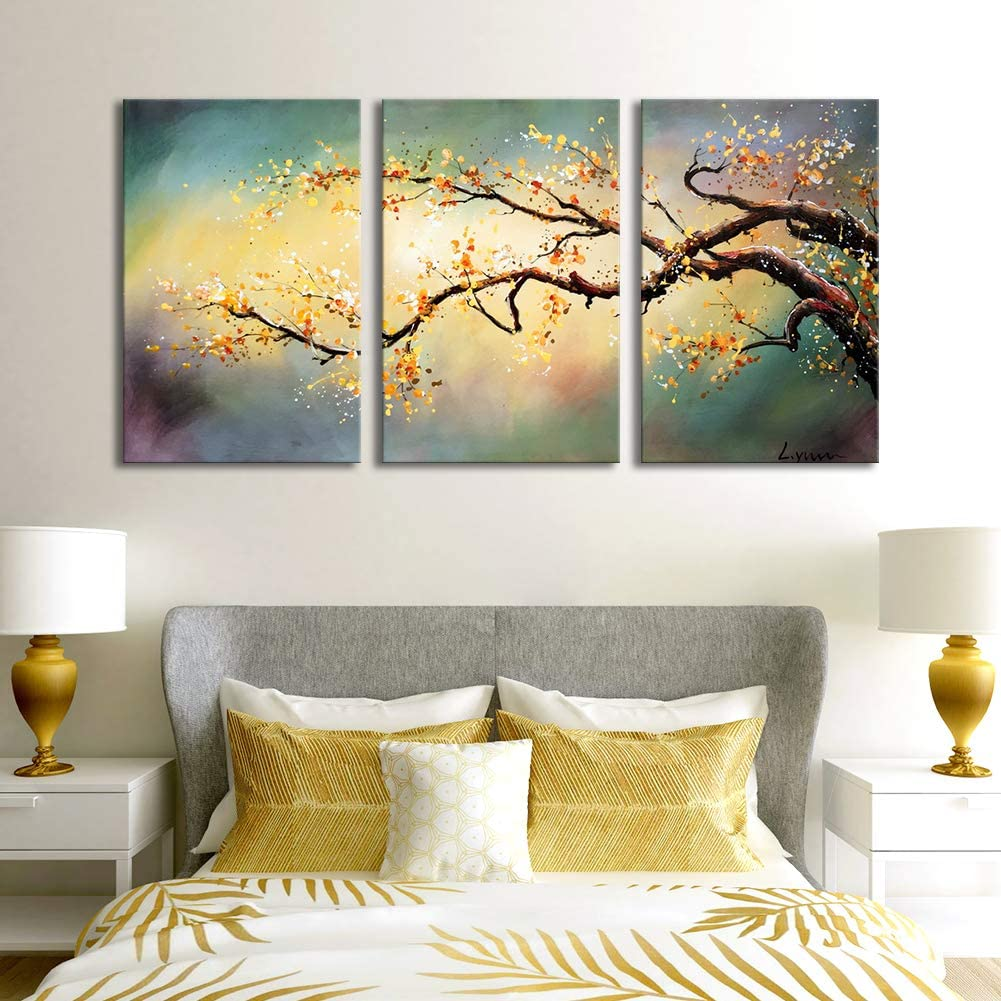 ARTLAND Modern 100% Hand Painted Flower Oil Painting on Canvas Yellow Plum Blossom 3-Piece Gallery-Wrapped Framed Wall Art Ready to Hang for Living Room for Wall Decor Home Decoration 36x72inches