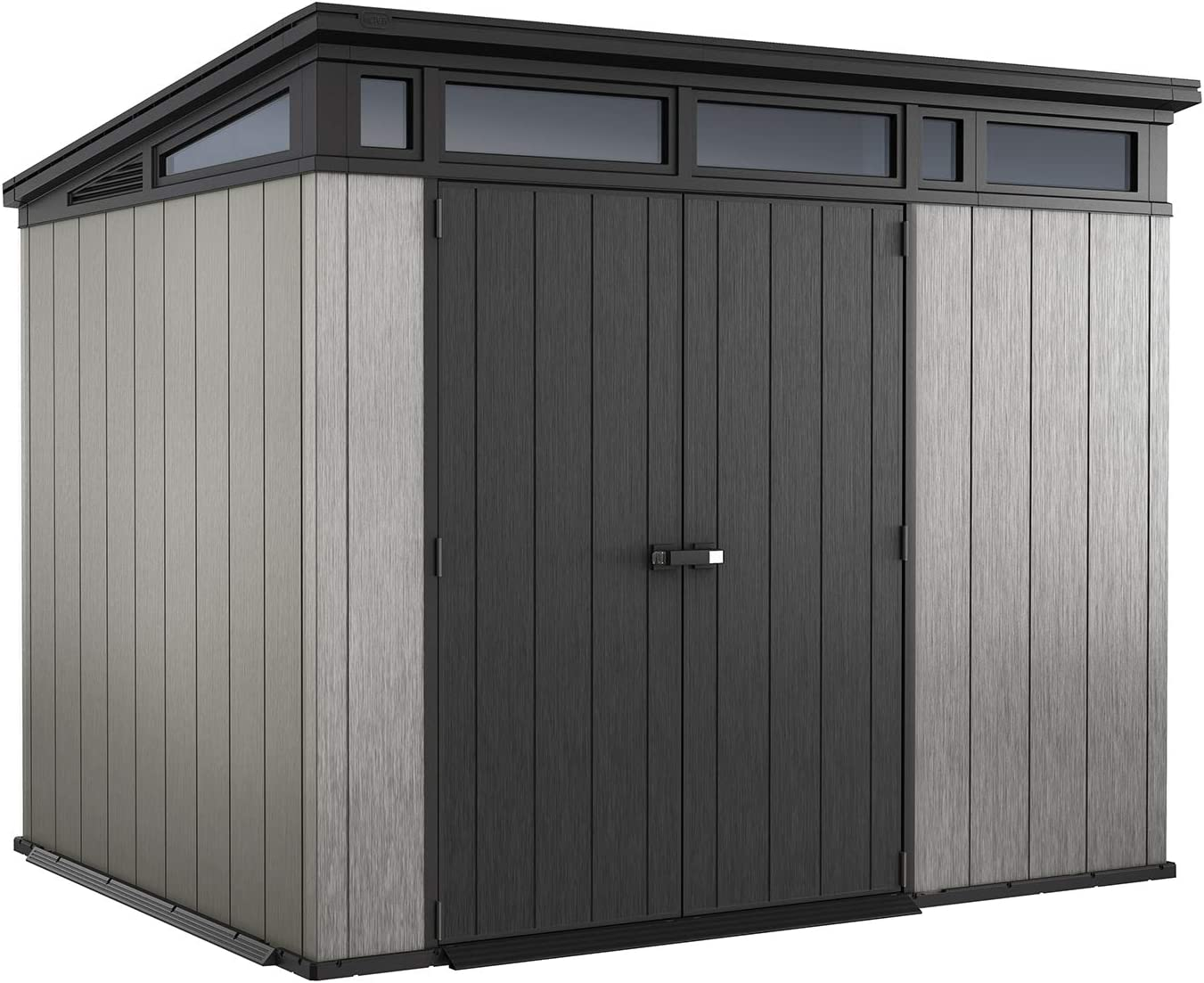 Keter Artisan 9×7 Large Outdoor Storage Kit with Modern Style and Design Perfect for a She Shed, Grey Black