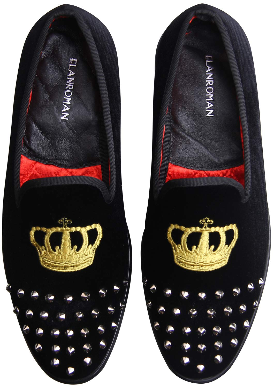 ELANROMAN Men's Velvet Loafers Shoes with Gold Plate Embroidery Crown Rivet Smoking Slipper Dress Loafer Slip on Shoes for Men Leather Business Dress Shoes Black US 13 EUR 47 Feet Length 310mm