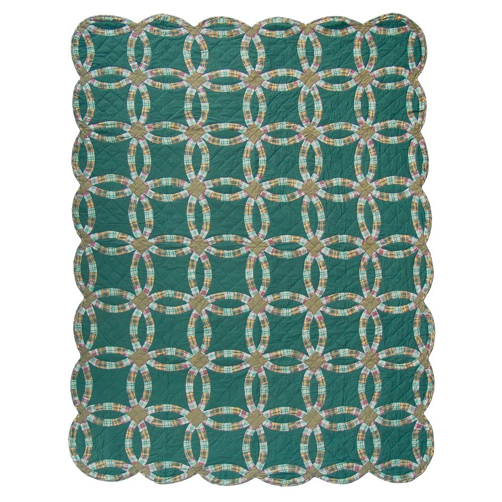 Patch Magic King Green Double Wedding Ring Quilt, 105-Inch by 95-Inch by Patch Magic